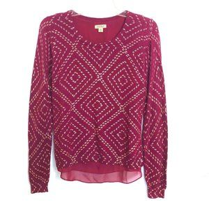 Soft Burgundy & Gold Multi Layered Long Sleeve Top